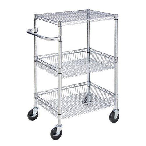 Honey-Can-Do CRT-01451 Heavy Duty Rolling Utility Cart, Chrome Wire, 3-Tier