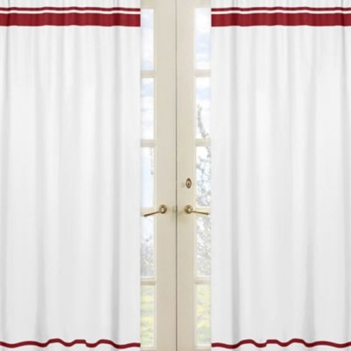 Sweet Jojo Designs Hotel Window Panel Pair in White/Red