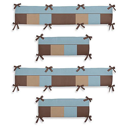 Sweet Jojo Designs Soho 4-Piece Crib Bumper in Blue/Brown