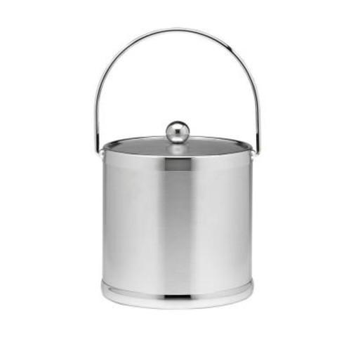 Kraftware Americano 3 Qt. Brushed Chrome Ice Bucket and Lid, Metal Bale Handle