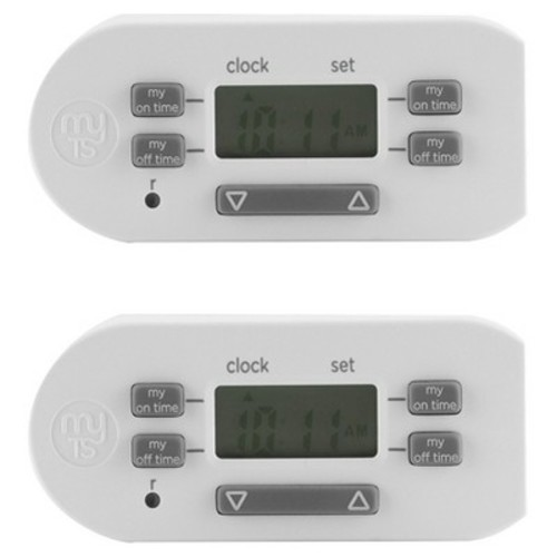 MyTouchSmart Indoor Simple Set Plug-In Timer, 2pk