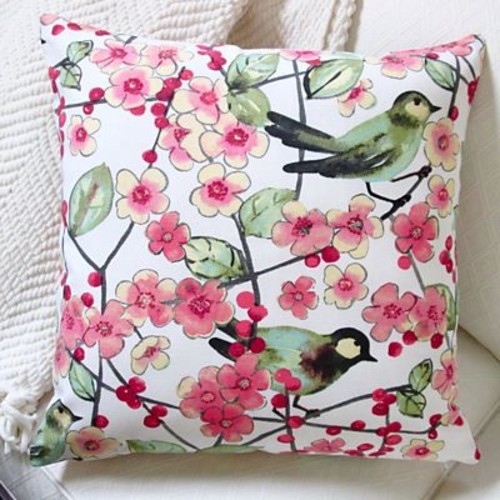 Artisan Pillows In the Air Songbird and Cherry Blossom Modern Indoor Pillow Cover