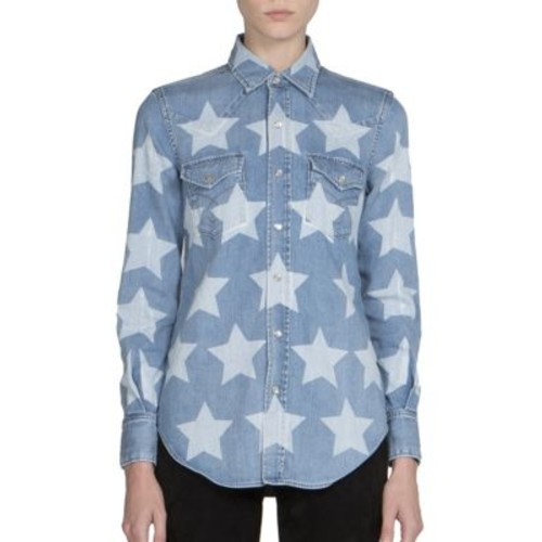 SAINT LAURENT Bleached Stars Denim Western Shirt