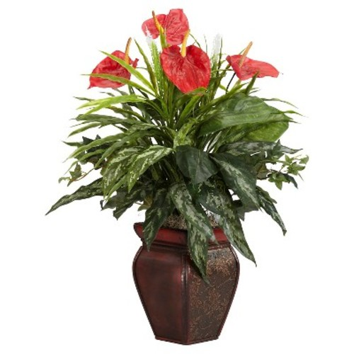 Nearly Natural 26 in. H Green Mixed Greens and Anthurium with Decorative Vase Silk Plant