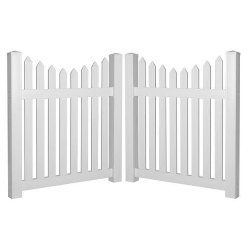 Weatherables Richmond 8 ft. W x 4 ft. H White Vinyl Picket Fence Double Gate