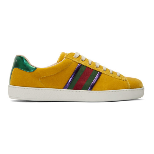 GUCCI Yellow Velvet Ace Sneakers