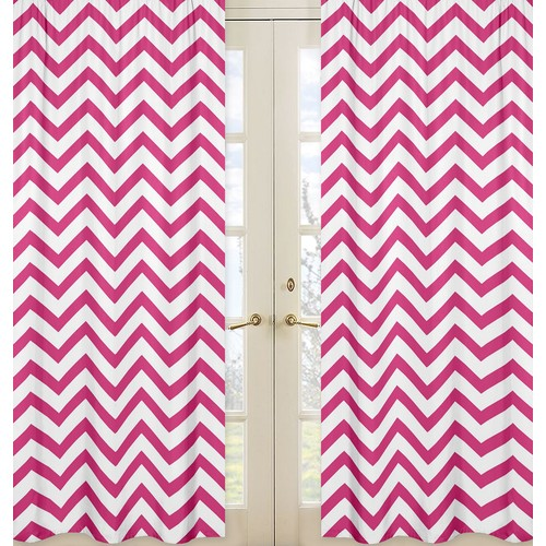Sweet Jojo Designs Hot Pink and White Chevron Collection Window Panels