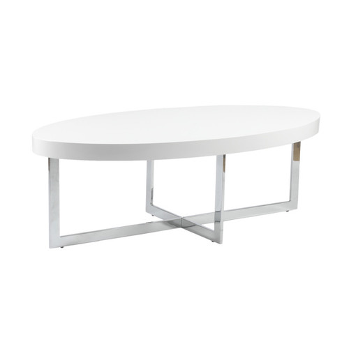 Euro Style Coffee, Console, Sofa & End Tables Oliver Coffee Table White Lacquer/ Chrome