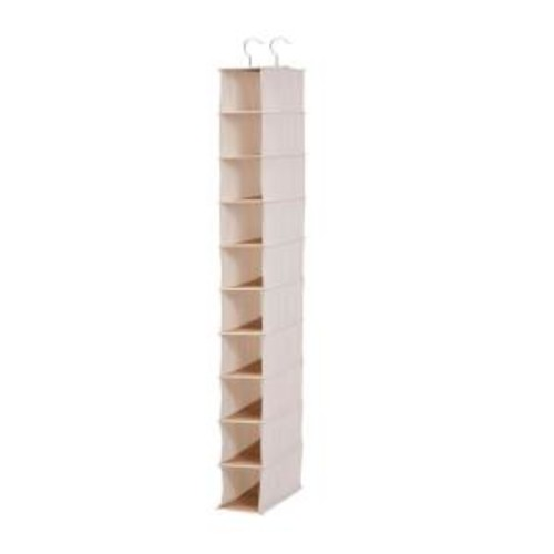 Honey-Can-Do Hanging 10-Pocket Shoe Organizer in Canvas and Bamboo