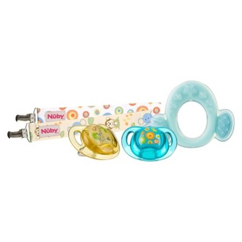 Nuby Classic Ortho Pacifier Set with Pacifinders and Softees Teether - Neutral (0-6 Months)