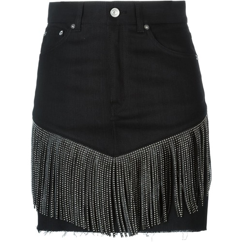 SAINT LAURENT Fringed Denim Skirt