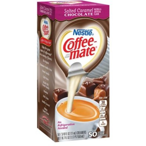 Nestle Coffee-mate Coffee Creamer, Salted Caramel Chocolate, .375 Oz. Liquid Creamer Singles, 50 Count
