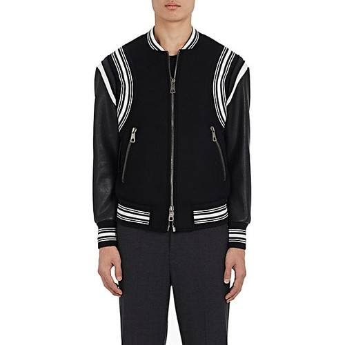 Neil Barrett Wool & Leather Varsity Bomber Jacket
