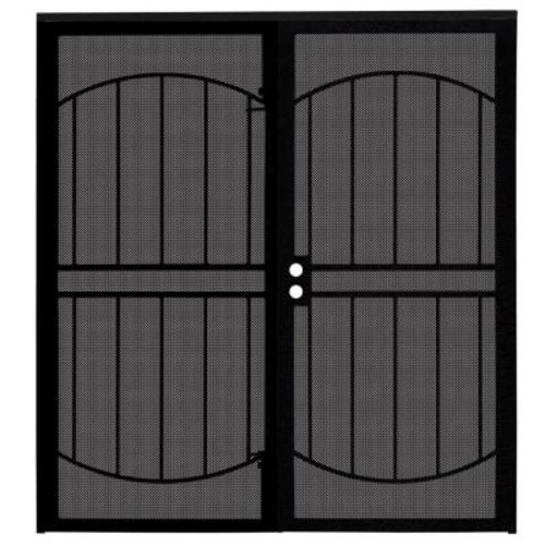 Unique Home Designs 72 in. x 80 in. Arcada Black Surface Mount Outswing Steel Double Security Door with Expanded Metal Screen