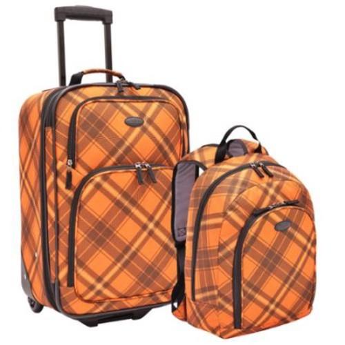 US Traveler U.S. Traveler by Traveler's Choice Orange Plaid 2-piece Carry-on Rolling Upright and Backpack Luggage Set