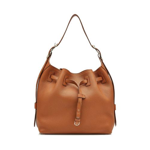 Leather Drawstring Bucket Bag
