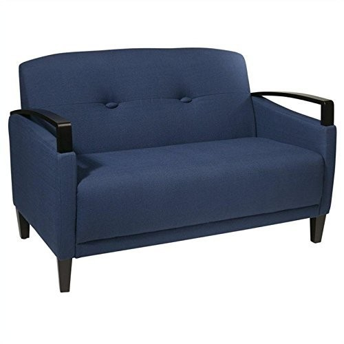 AVE SIX Main Street Loveseat with Interlace Weave Fabric and Espresso Finish Wood Accents, Indigo