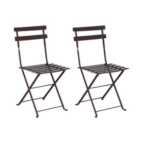 Furniture Designhouse French Bistro European Cafe Folding Patio Dining Chair (Set of 2); Jet Black