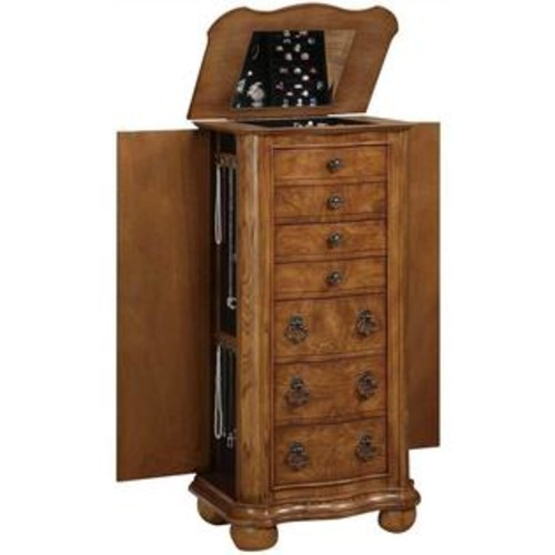 Powell Furniture Porter Valley Jewelry Armoire in Distressed Oak Finish