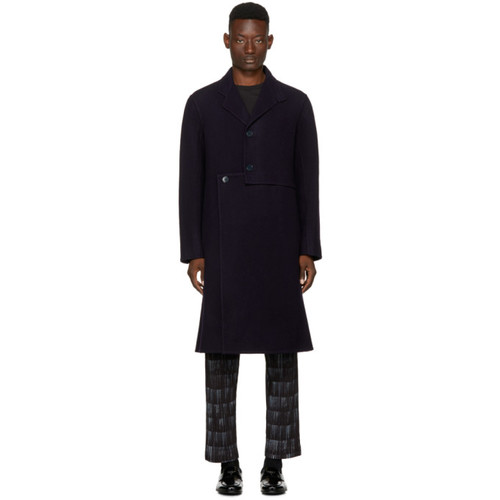 J.W. ANDERSON Navy Wool Cut-Out Coat