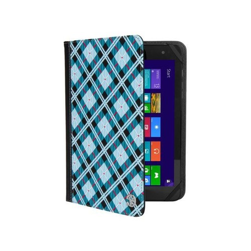 Mary 2.0 Tablet Cover Case Folding Stand fits 7 to 8 Inch Tablet Devices (Sky Blue Checkered Plaid)