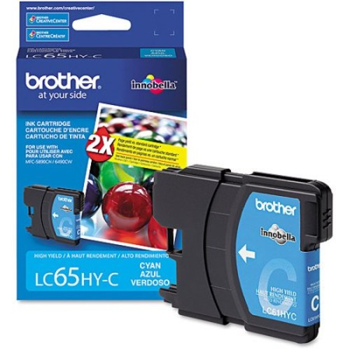 Brother LC65HYC OEM Ink Cartridge: Cyan Yields 750 Pages - CWII-LC65HYC