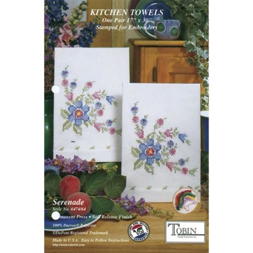 Stamped Kitchen Towels For Embroidery-Serenade