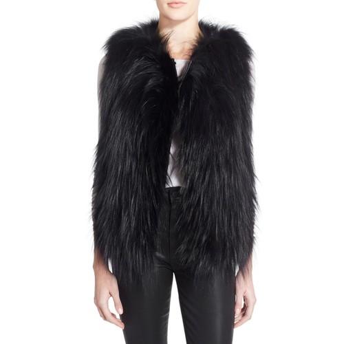 'Stripe' Genuine Silver Fox Fur with Leather Trim