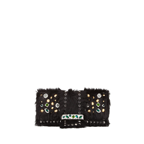 PRADA Bejeweled Cavallino & City Calf Shoulder Bag