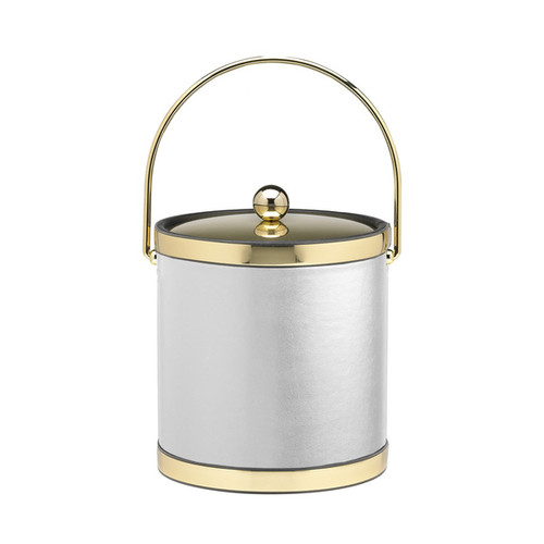 Sophisticates with Polished Gold 3-quart Ice Bucket with Metal Cover, Bands and Bale Handle [option : Brown]