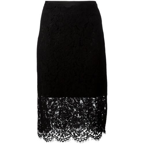DIANE VON FURSTENBERG Sheer Lace Pencil Skirt
