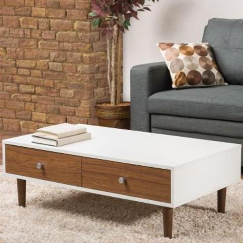 Baxton Studio Adal Walnut and White Coffee Table