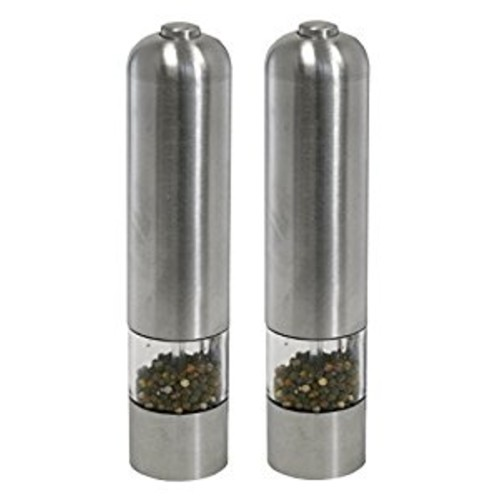 iTouchless Automatic Electric Salt and Pepper Grinder Set  Stainless Steel Construction  Battery Operated  Adjustable Coarseness  LED Light, 2 Count [Set]