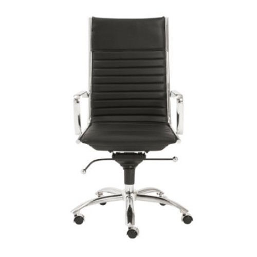 Euro Style Dirk Leatherette Adjustable Office Chair with Chromed Steel Frame and Base with Arms, High Back, Brown [Brown, High Back-Arms]