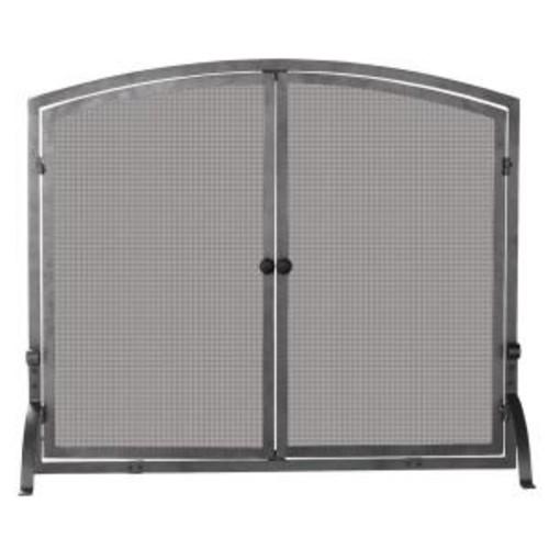 UniFlame Olde World Iron Single-Panel Fireplace Screen with Doors, Large
