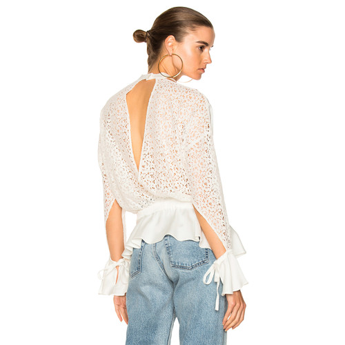 Marissa Webb Sullivan Lace Top in Lace White Combo