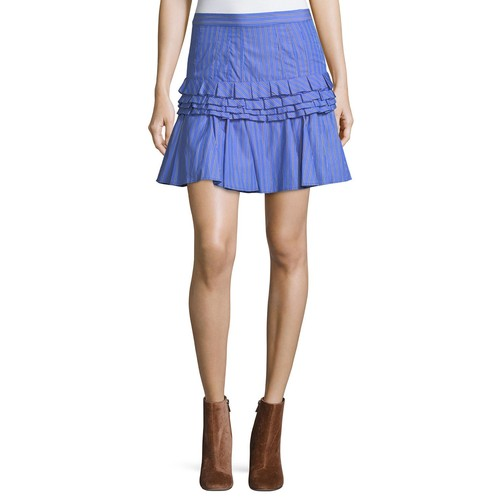 Tiered Ruffled Striped Cotton Mini Skirt