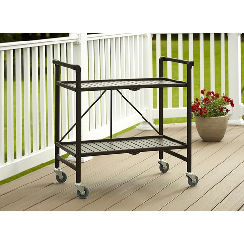 Cosco Home and Office Products Brown Metal Slat Folding Serving Cart
