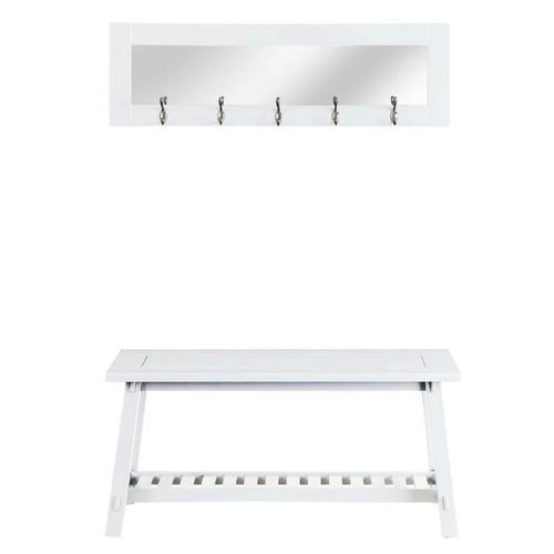 Stanton White Bench and Mirror