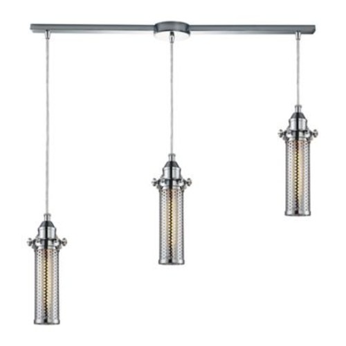 ELK Lighting Fulton 3-Light Pendant with Metal Shades in Polished Chrome
