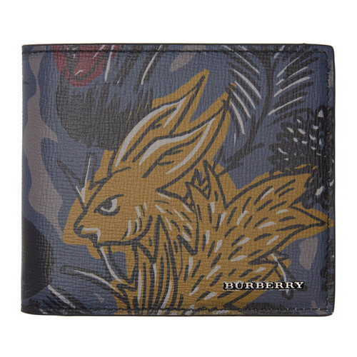 BURBERRY Navy & Grey ' Beasts' Wallet
