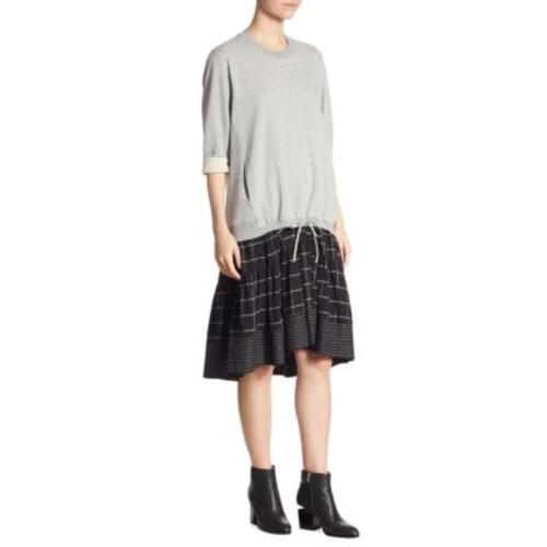 3.1 PHILLIP LIM Mixed Media Drop-Waist Dress