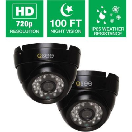 Q-SEE Wired 720p Indoor/Outdoor HD Dome Camera with 100 ft. Night Vision (2-Pack)