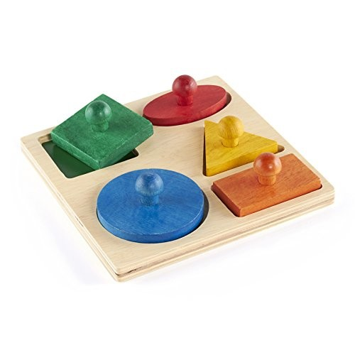 Guidecraft - Hardwood Geometric Puzzle Board - 5 Shapes: Baby [Multicolor, None]