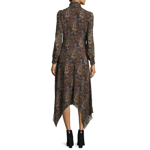 SAINT LAURENT Paisley-Print Tie-Neck Handkerchief Dress, Multi