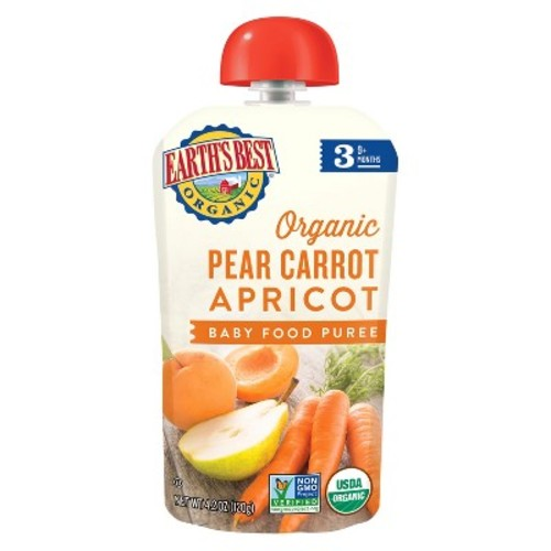 Earth's Best Organic Stage 3 Pear Carrot Apricot Baby Food 4.2 oz