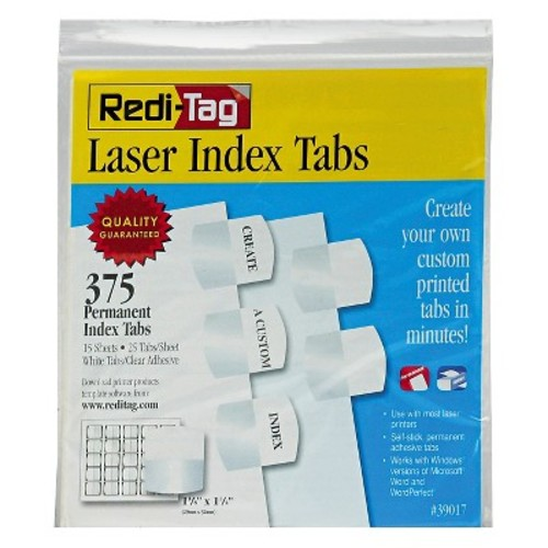 Redi-Tag Laser Printable Index Tabs, 1 1/8 x 1 1/4, White, 375/Pack