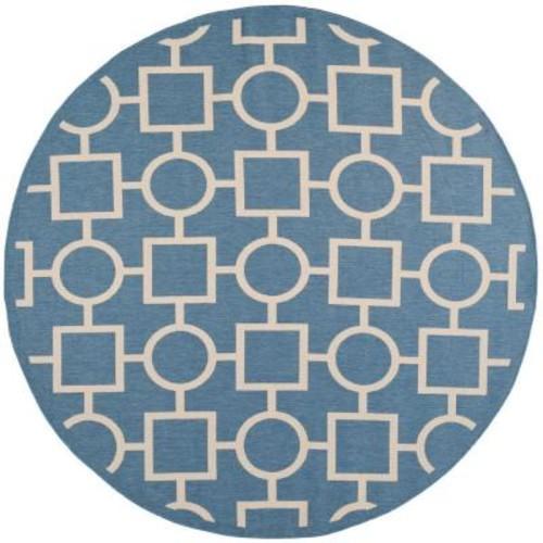 Safavieh Courtyard Blue/Beige 7 ft. 10 in. x 7 ft. 10 in. Indoor/Outdoor Round Area Rug