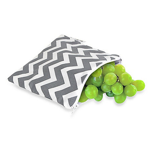 Itzy Ritzy Snack Happens Medium Reusable Snack and Everything Bag in Grey Chevron