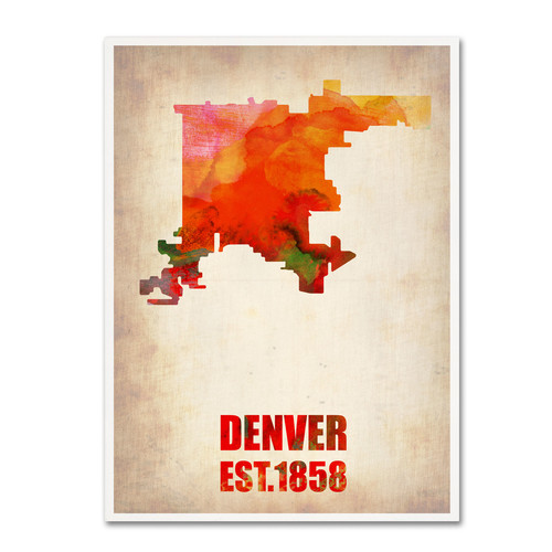 Trademark Global Naxart 'Denver Watercolor Map' Canvas Art [Overall Dimensions : 35x47]